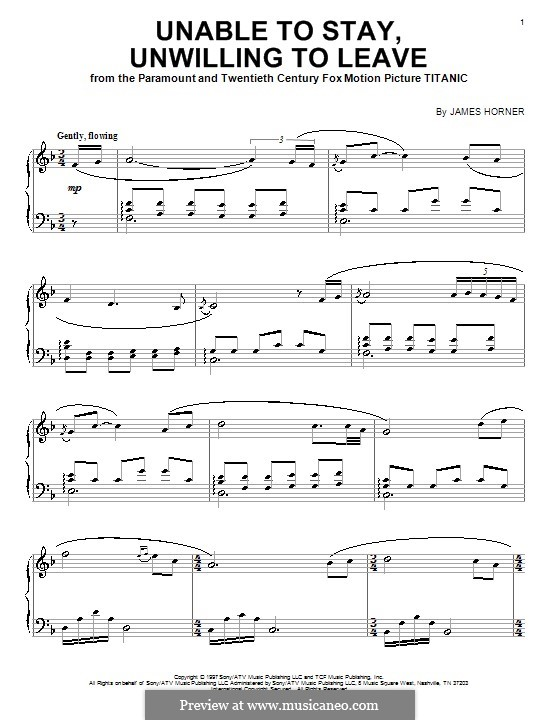 Unable to Stay, Unwilling to Leave: For piano by James Horner