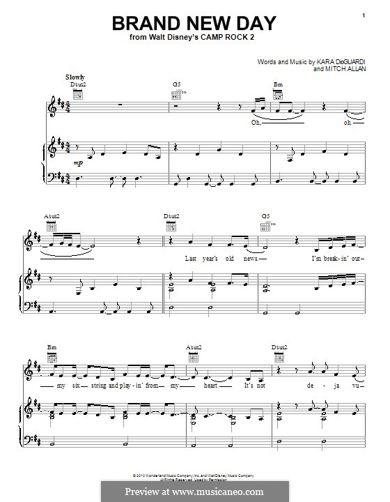 Brand New Day (Demi Lovato): For voice and piano (or guitar) by Mitch Allan