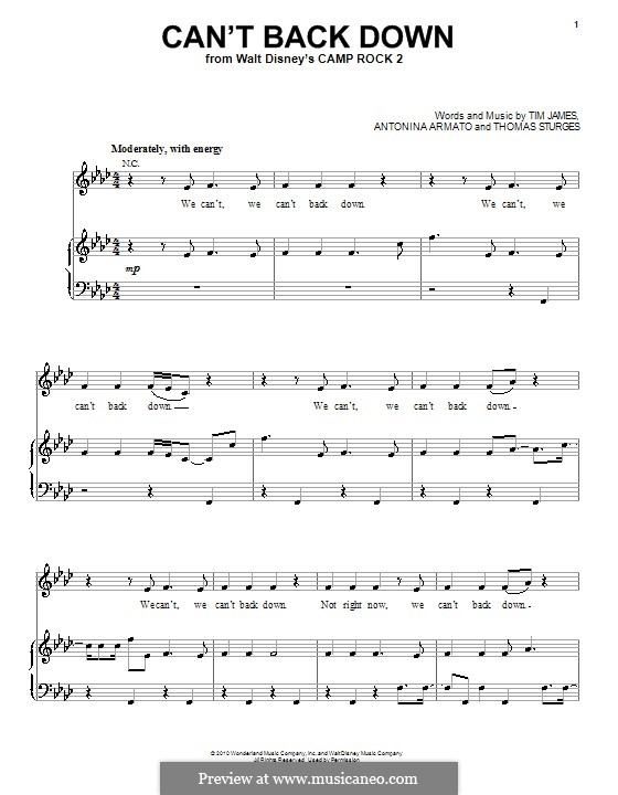 Can't Back Down (Demi Lovato): For voice and piano (or guitar) by Antonina Armato, Thomas Armato Sturges, Timothy James