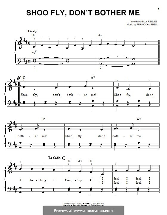 Shoo Fly, Don't Bother Me: For easy piano by Frank Campbell