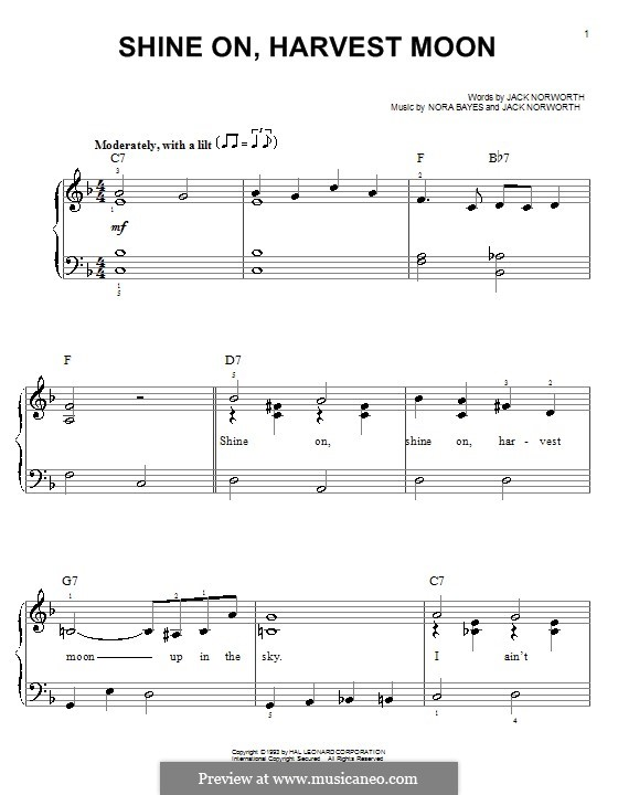 Shine On, Harvest Moon: For easy piano by Nora Bayes