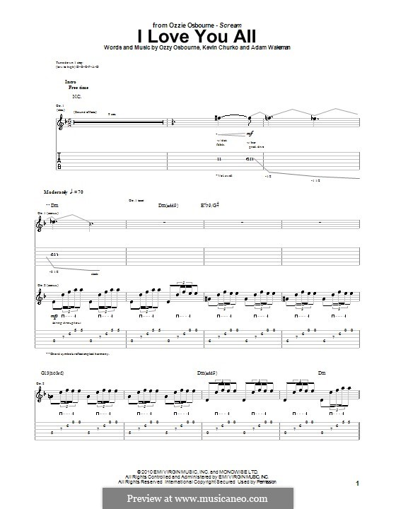 I Love You All (Ozzy Osbourne): For guitar with tab by Adam Wakeman, Kevin Churko