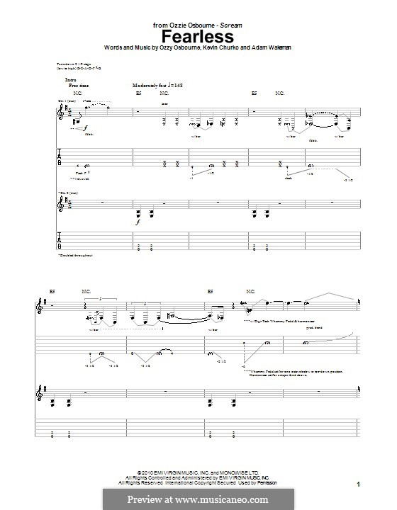 Fearless (Ozzy Osbourne): For guitar with tab by Adam Wakeman, Kevin Churko