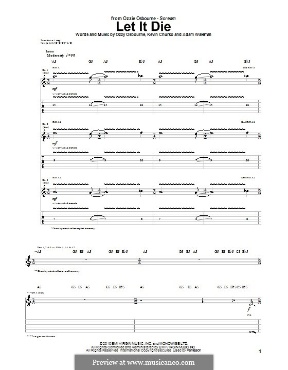 Let It Die (Ozzy Osbourne): For guitar with tab by Adam Wakeman, Kevin Churko