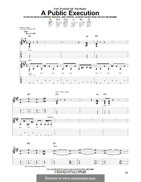 A Public Execution (Shadows Fall): For guitar with tab by Brian Fair, Jason Bittner, Jonathan Donais, Matthew Bachand, Paul Romanko