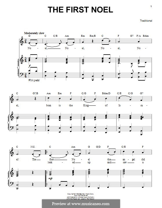 The First Nowell (The First Noël), Printable scores: For voice and piano or guitar (C Major) by folklore