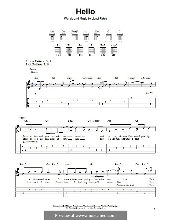Hello: For easy guitar with tabulature by Lionel Richie