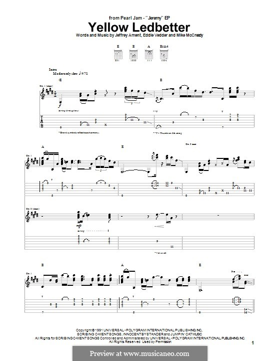 Yellow Ledbetter (Pearl Jam): For guitar with tab by Eddie Vedder, Jeff Ament, Mike McCready