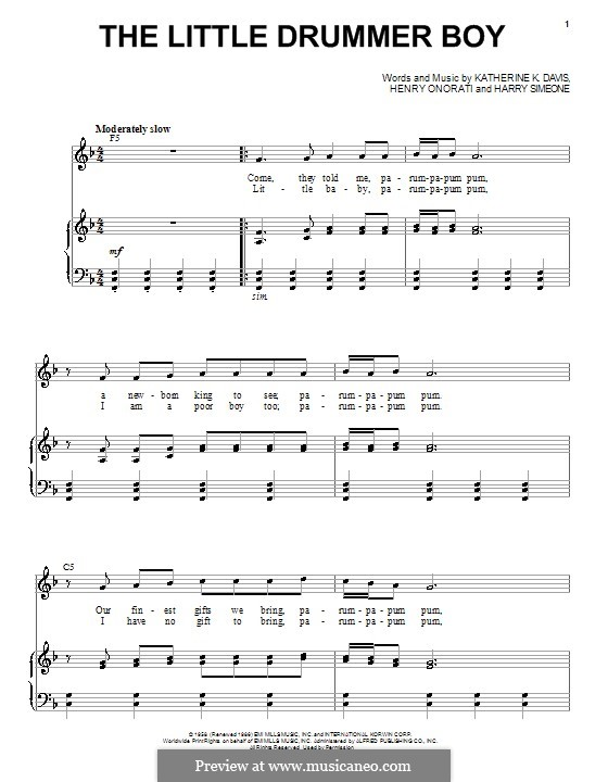 The Little Drummer Boy: For voice and piano or guitar (Andy Williams) by Harry Simeone, Henry Onorati, Katherine K. Davis