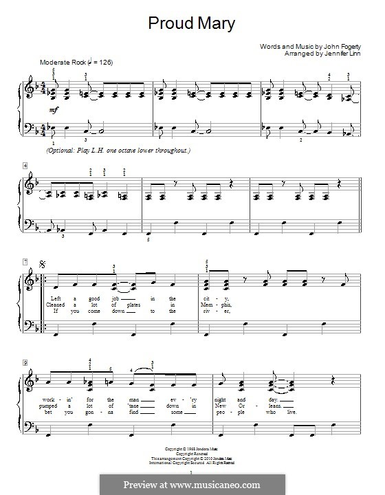 Proud Mary (Creedence Clearwater Revival): For piano by John C. Fogerty