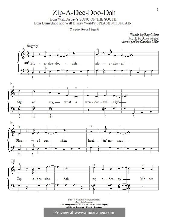 Zip-A-Dee-Doo-Dah: For piano (with lyrics) by Allie Wrubel