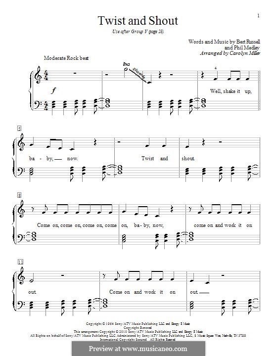 Twist and Shout (The Beatles): For piano by Bert Russell, Phil Medley