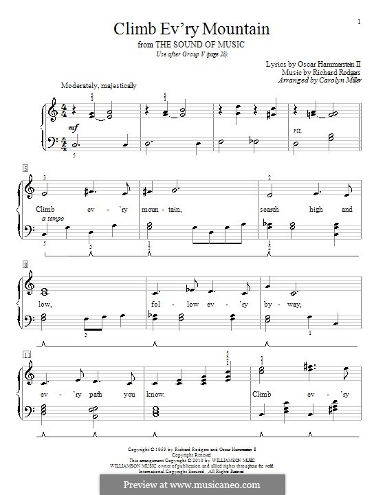 Climb Ev'ry Mountain: For piano (with lyrics) by Richard Rodgers