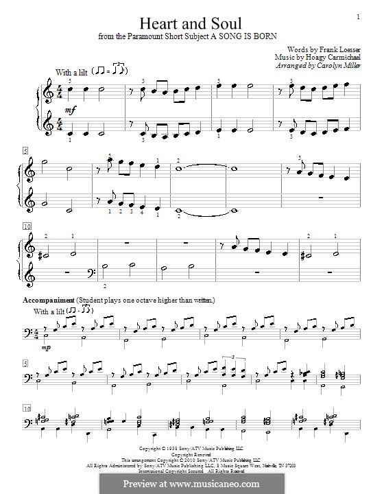 Heart and Soul: For piano by Hoagy Carmichael