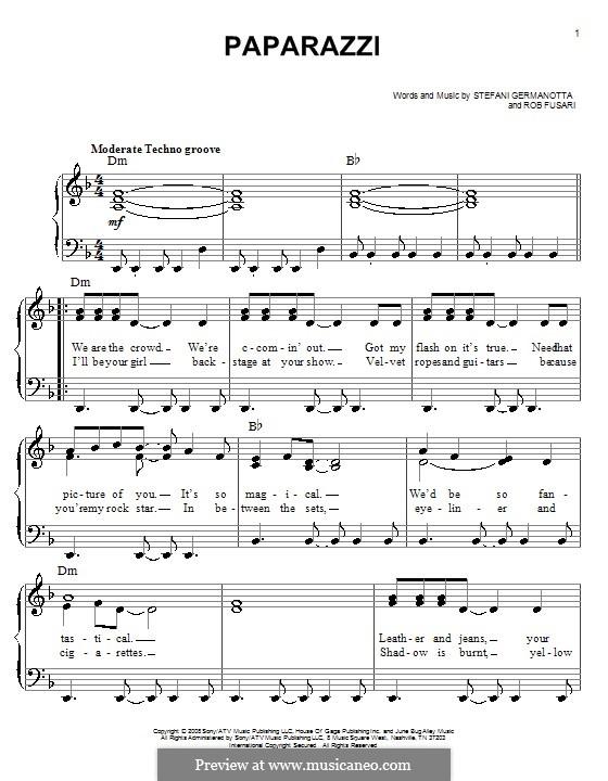 Paparazzi (Lady Gaga): For easy piano by Robert Fusari, Stefani Germanotta