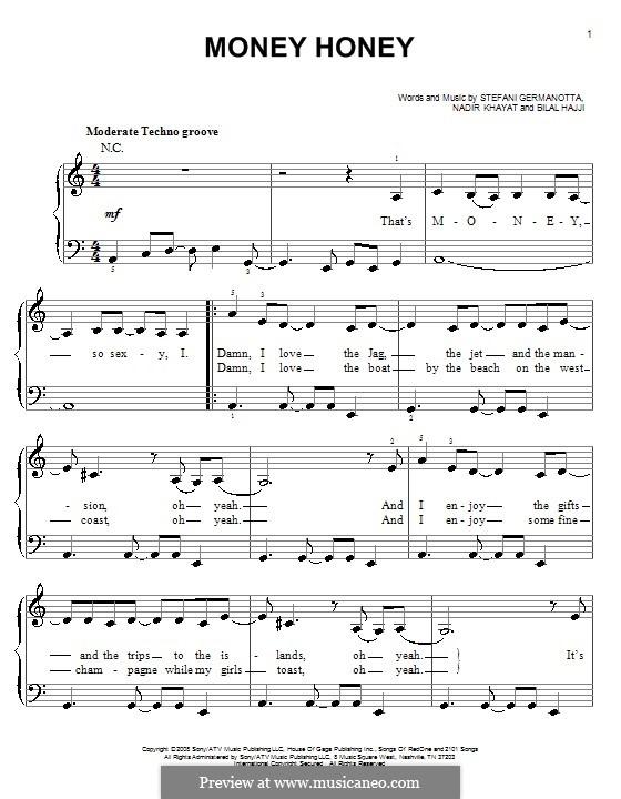 Money Honey (Lady Gaga): For easy piano by RedOne, Bilal Hajji, Stefani Germanotta