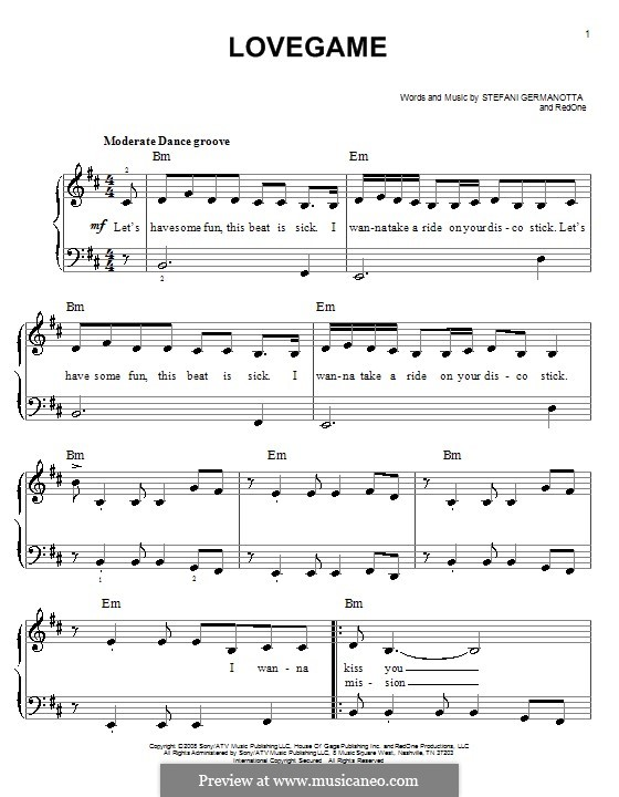 Lovegame: For easy piano by RedOne, Stefani Germanotta