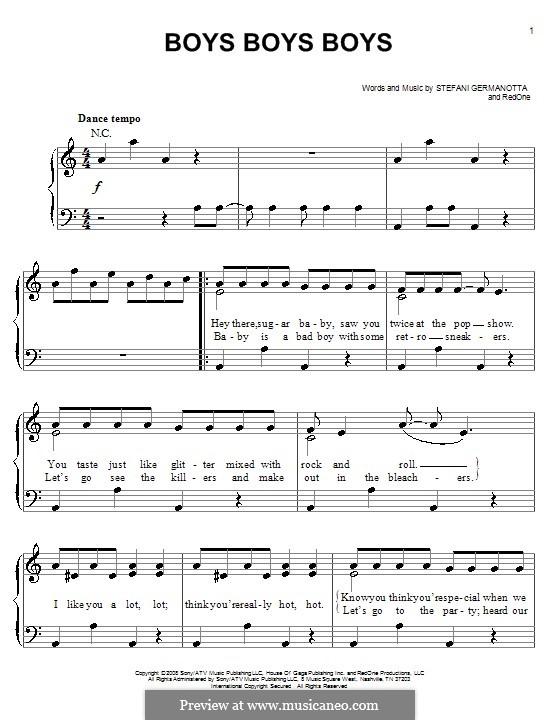 Boys Boys Boys (Lady Gaga): For easy piano by RedOne, Stefani Germanotta