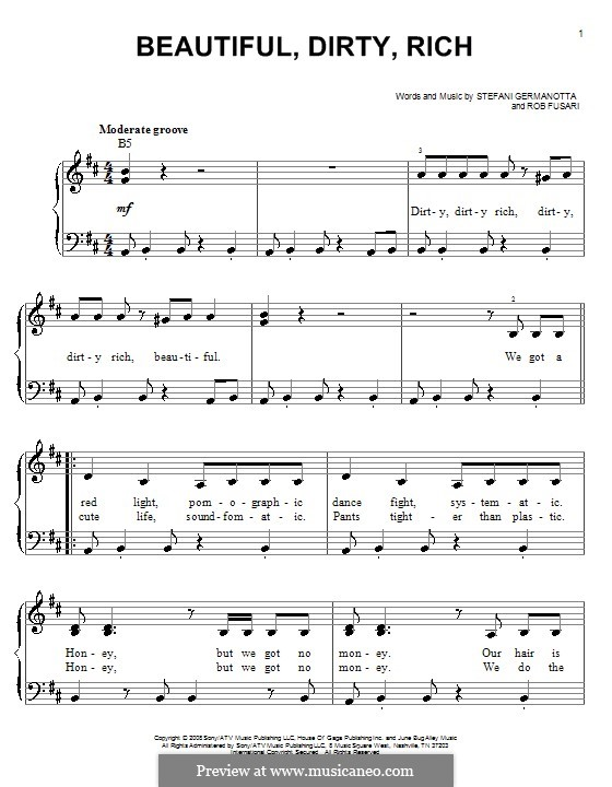 Beautiful, Dirty, Rich (Lady Gaga): For easy piano by Robert Fusari, Stefani Germanotta
