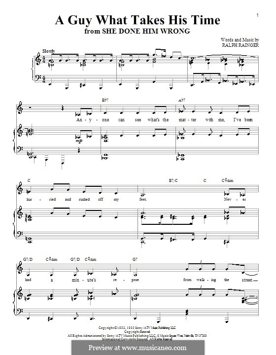 A Guy What Takes His Time (Christina Aguilera): For voice and piano (or guitar) by Ralph Rainger