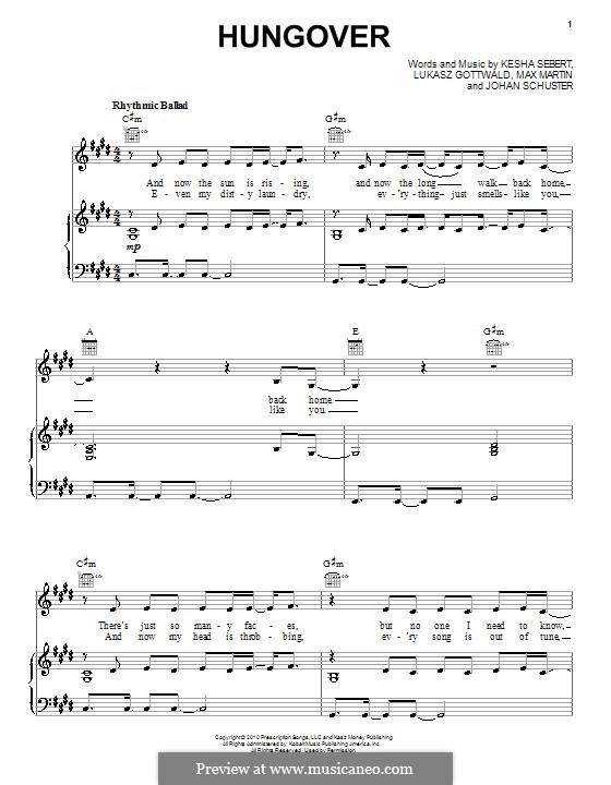 Hungover (Ke$ha): For voice and piano (or guitar) by Shellback, Kesha Sebert, Lukas Gottwald, Max Martin