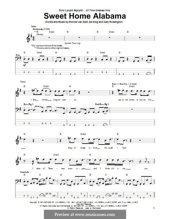Sweet Home Alabama (Lynyrd Skynyrd): For bass guitar with tab by Ed King, Gary Rossington, Ronnie Van Zant