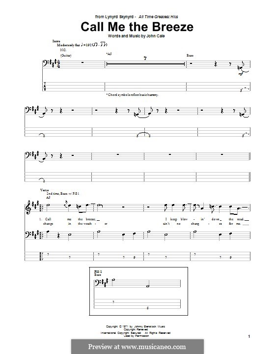 Call Me the Breeze (Lynyrd Skynyrd): For bass guitar with tab by John Cale