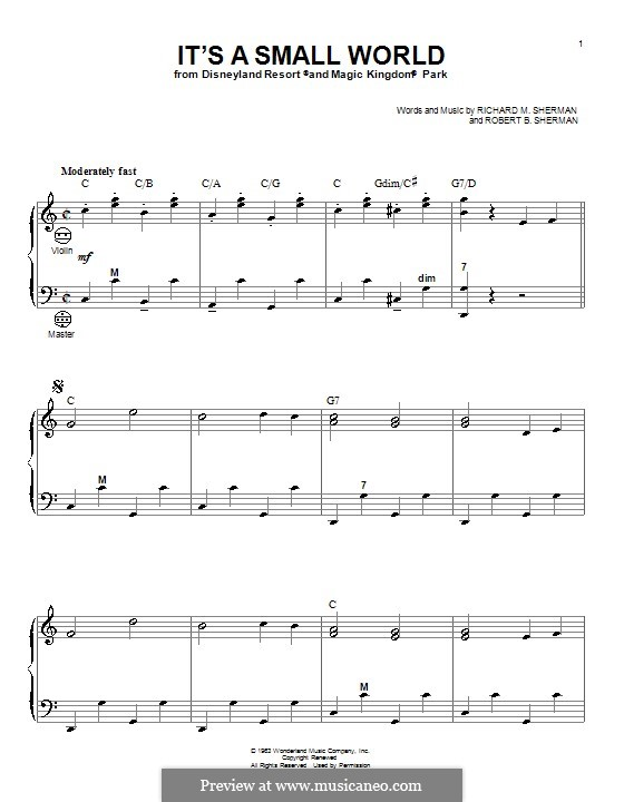 It's a Small World (from Disneyland Park and Magic Kingdom Park): For accordion by Richard M. Sherman, Robert B. Sherman