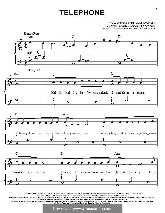 Telephone (Lady Gaga featuring Beyonce): For easy piano by Beyoncé, LaShawn Daniels, Lazonate Franklin, Rodney Jerkins, Stefani Germanotta