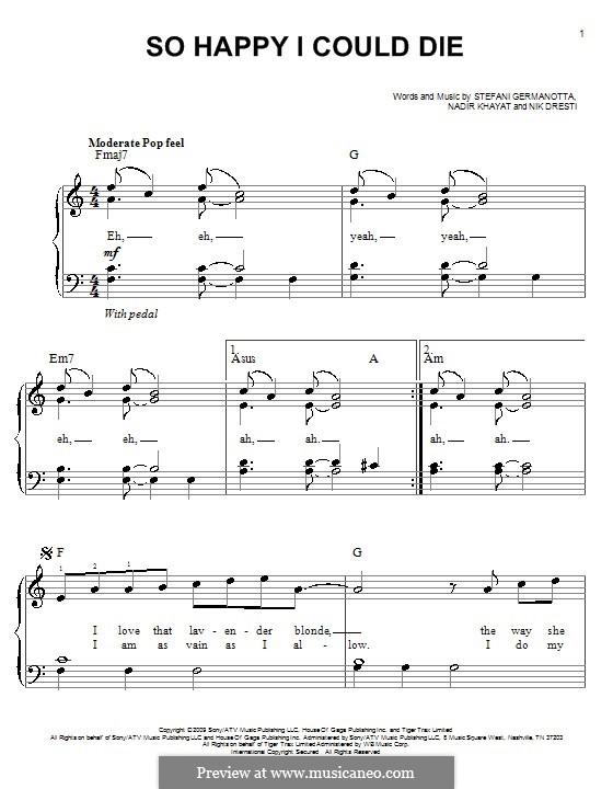 So Happy I Could Die (Lady Gaga): For easy piano by RedOne, Nick Dresti, Stefani Germanotta