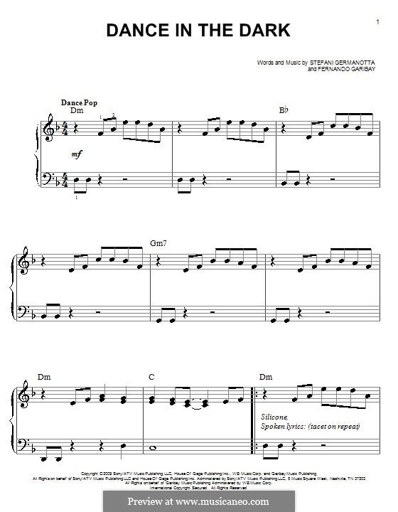 Dance in the Dark (Lady Gaga): For easy piano by Fernando Garibay, Stefani Germanotta