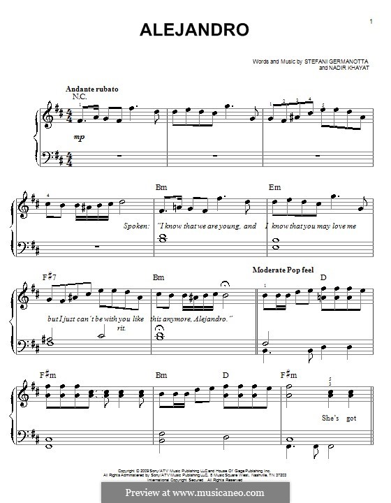 Alejandro (Lady Gaga): For easy piano by RedOne, Stefani Germanotta