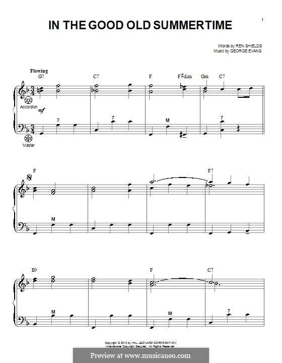 In the Good Old Summer Time: For accordion by George Evans