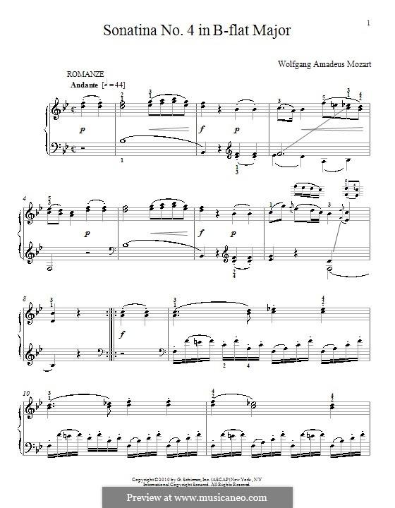 Sonatina for Piano in B Flat Major: Sonatina for Piano in B Flat Major by Wolfgang Amadeus Mozart