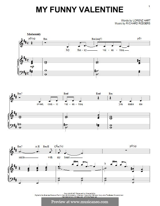 My Funny Valentine: For voice and piano or guitar (high quality sheet music) by Richard Rodgers