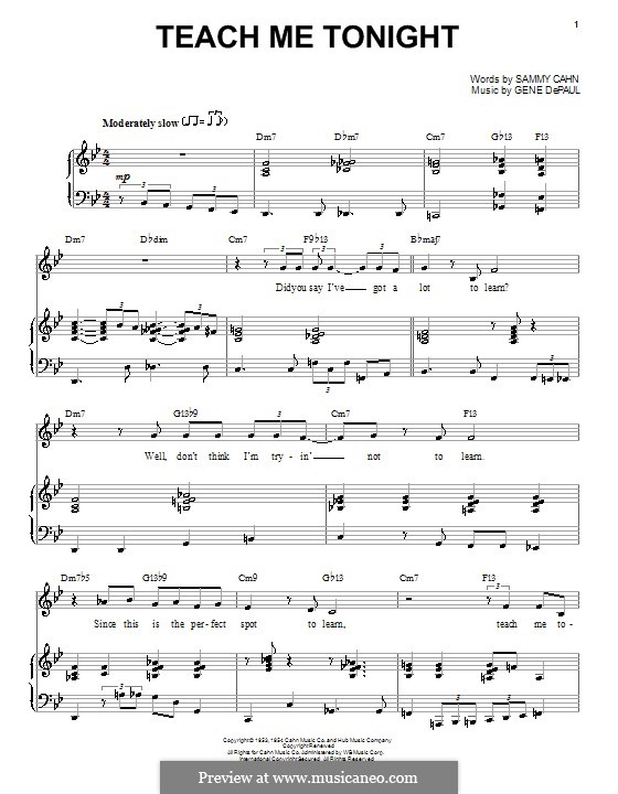 Teach Me Tonight (Frank Sinatra): For voice and piano (or guitar) by Gene de Paul