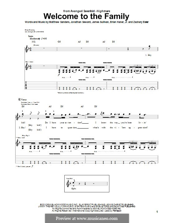 Welcome to the Family (Avenged Sevenfold): For guitar with tab by Brian Haner Jr., James Sullivan, Jonathan Seward, Matthew Sanders, Zachary Baker