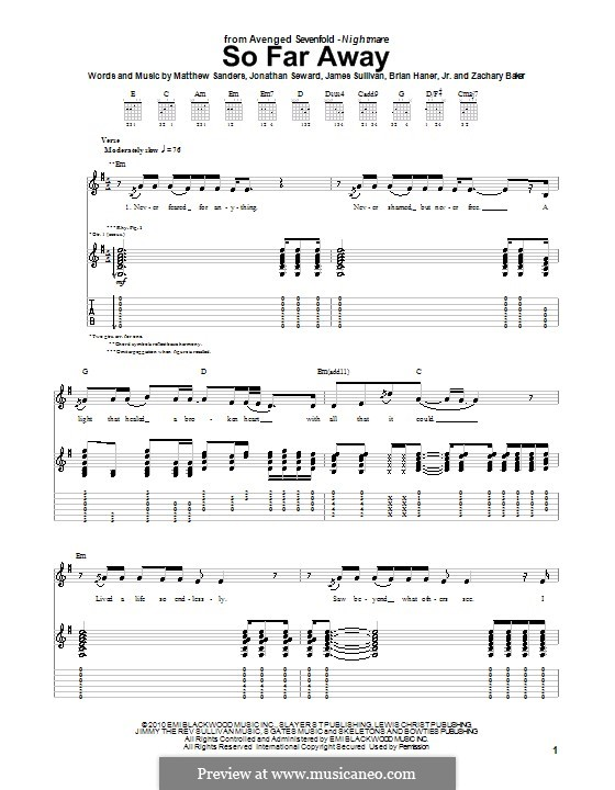 So Far Away (Avenged Sevenfold): For guitar with tab by Brian Haner Jr., James Sullivan, Jonathan Seward, Matthew Sanders, Zachary Baker