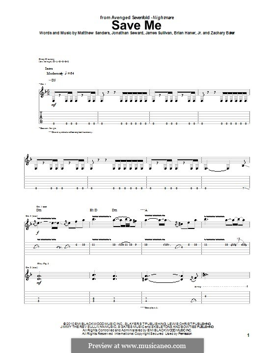 Save Me (Avenged Sevenfold): For guitar with tab by Brian Haner Jr., James Sullivan, Jonathan Seward, Matthew Sanders, Zachary Baker