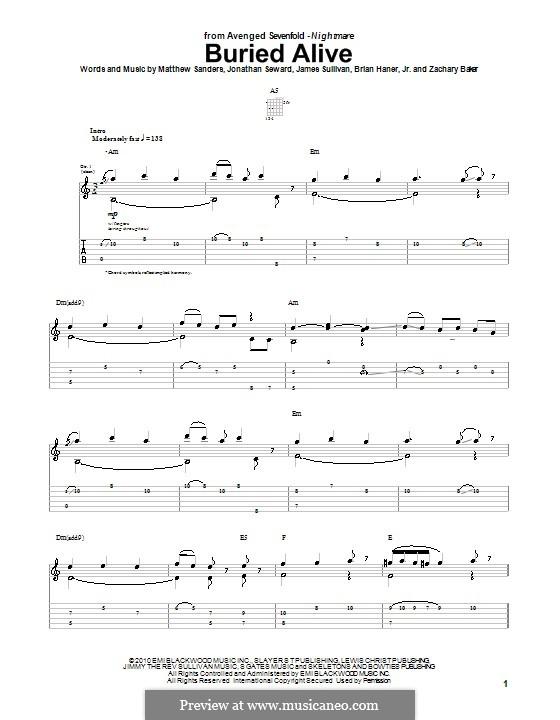 Guitar guitar tabs avenged sevenfold : Buried Alive (Avenged Sevenfold) by B. Haner Jr., J. Sullivan, J ...