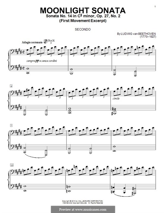 Movement I (Printable scores): For piano four hands (fragment) by Ludwig van Beethoven