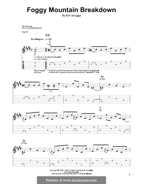 Foggy Mountain Breakdown: For guitar with tab by Earl Scruggs