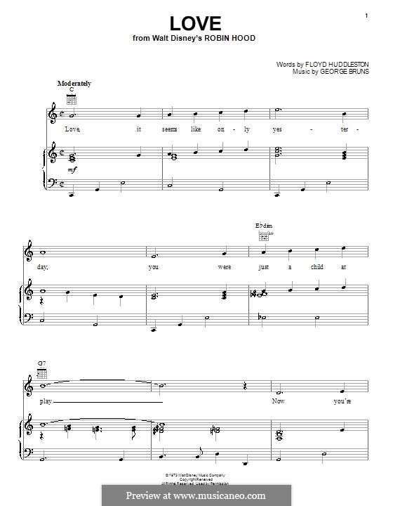 Love (from Walt Disney's Robin Hood): For voice and piano (or guitar) by George Bruns