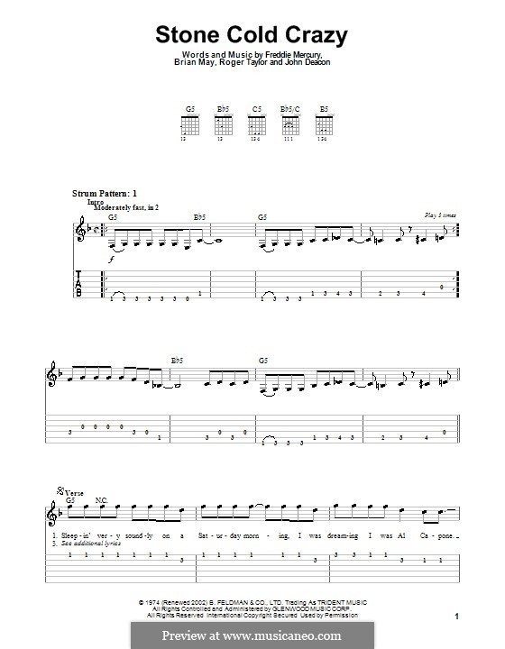 Stone Cold Crazy (Queen): For easy guitar with tabulature by Brian May, Freddie Mercury, John Deacon, Roger Taylor