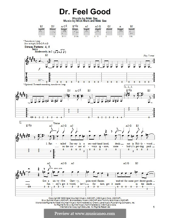 Dr. Feel Good (Motley Crue): For guitar (very easy version) by Mick Mars, Nikki Sixx