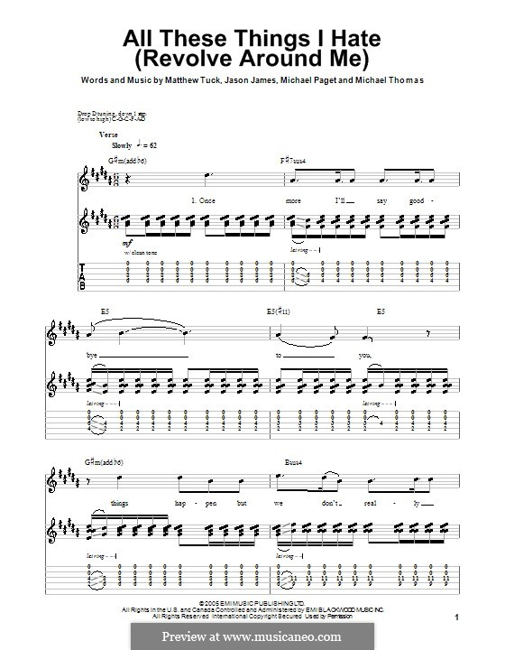All These Things I Hate (Revolve Around Me): Guitar Tab (Bullet For My Valentine) by Jason James, Matthew Tuck, Michael Paget, Michael Thomas