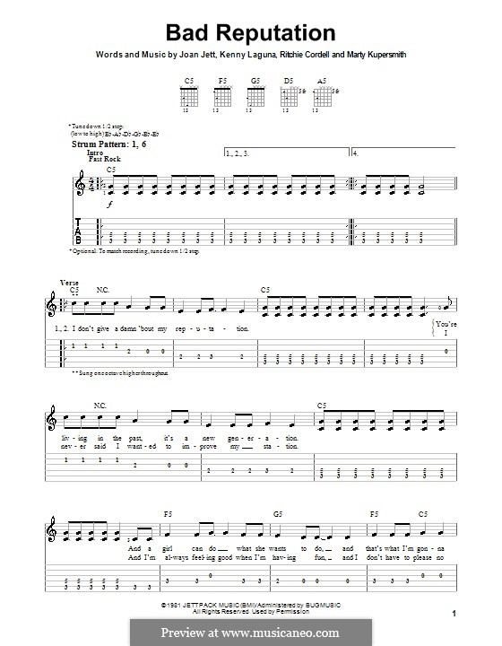Bad Reputation (Joan Jett): For guitar (very easy version) by Kenny Laguna, Marty Kupersmith, Ritchie Cordell