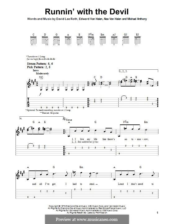 Runnin' with the Devil (Van Halen): For guitar (very easy version) by Alex Van Halen, David Lee Roth, Edward Van Halen, Michael Anthony