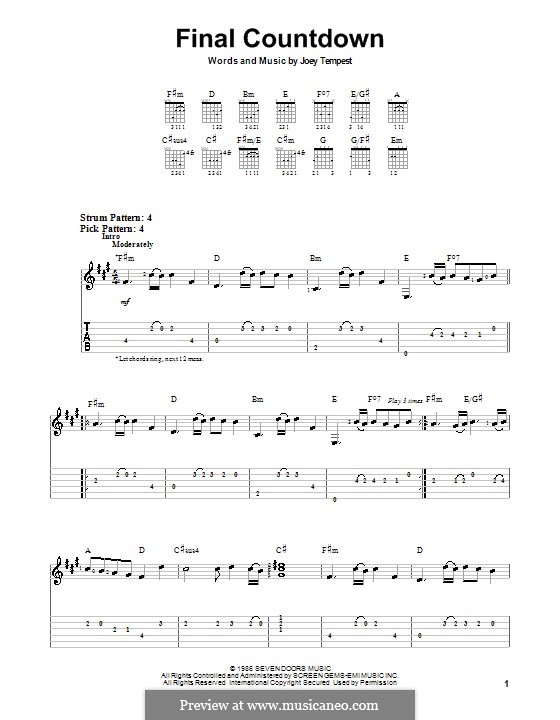 Final Countdown (Europe): For guitar (very easy version) by Joey Tempest