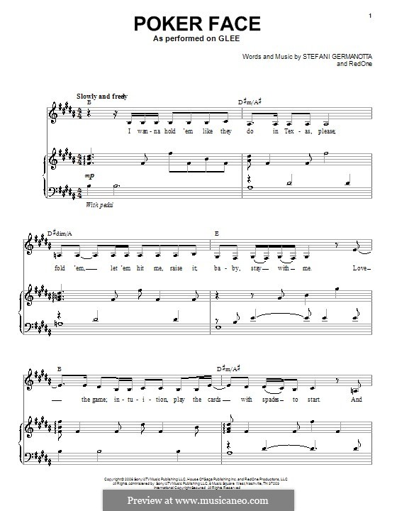 Poker Face (Lady Gaga): For voice and piano or guitar (Glee Cast) by RedOne, Stefani Germanotta